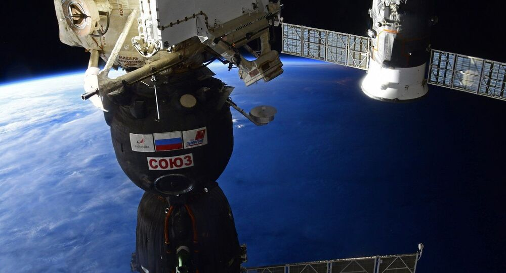A Roscosmos Soyuz MS-16 spacecraft preparing to undock from the International Space Station (ISS) before returning to Earth.