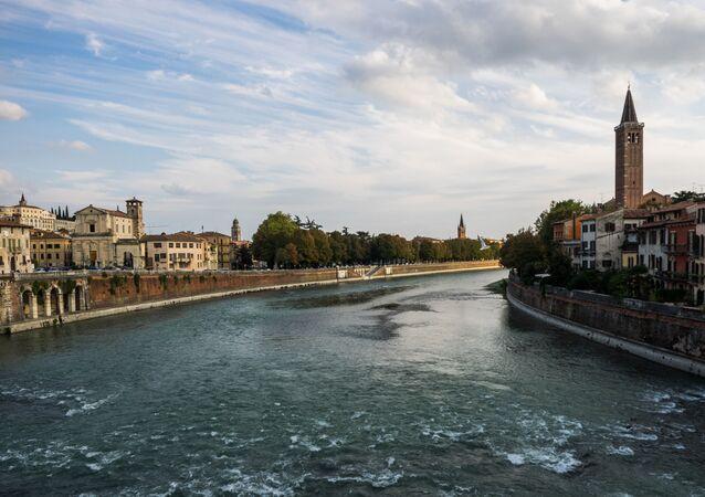 The Adige river in Verona, Italy