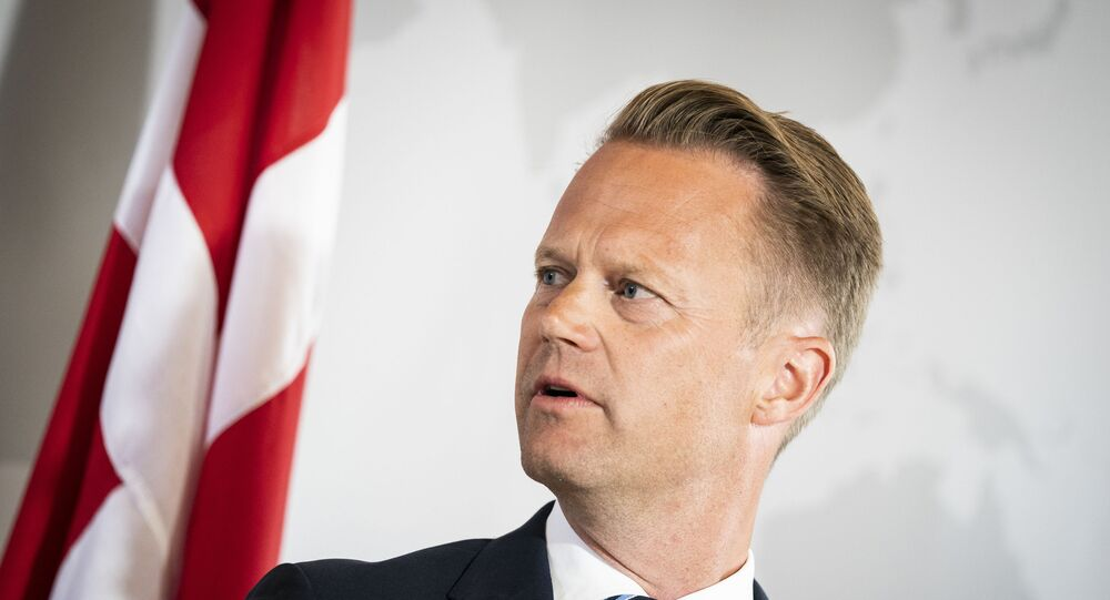 Danish Foreign Minister Jeppe Kofod addresses a press conference in Eigtved's Warehouse in Copenhagen, on July 21, 2020, on the eve of US Secretary of State Mike Pompeo's visit to Copenhagen.