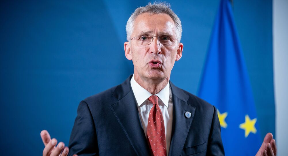 NATO Secretary General Jens Stoltenberg gives a press statement during an informal meeting of EU defence ministers on August 26, 2020 in Berlin