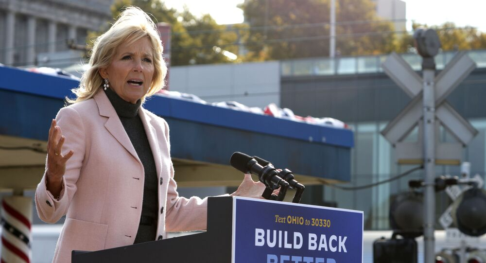 Dr. Jill Biden, wife of Democratic U.S. presidential nominee Joe Biden, speaks during a campaign event to launch a train campaign tour at Cleveland Amtrak Station September 30, 2020 in Cleveland, Ohio