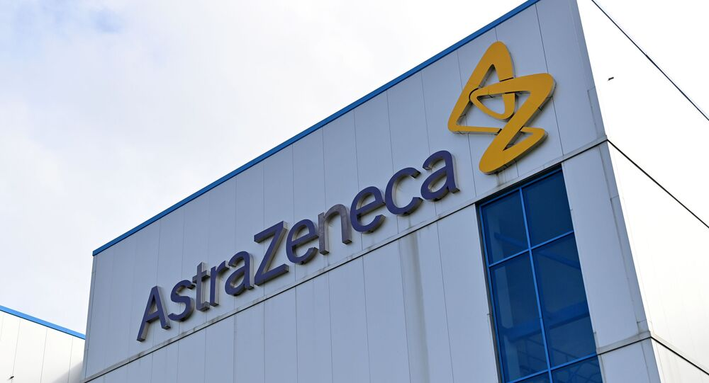 (FILES) File photo taken on July 21, 2020 of the offices of British-Swedish multinational pharmaceutical and biopharmaceutical company AstraZeneca PLC in Macclesfield, Cheshire, UK