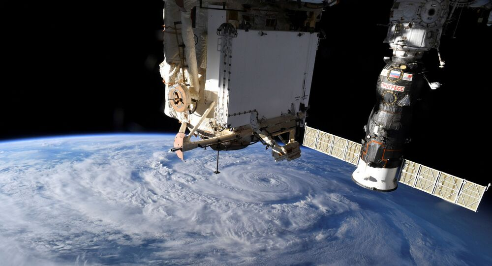 Hurricane Genevieve is seen from the International Space Station (ISS) orbiting Earth in an image taken by NASA astronaut Christopher J. Cassidy August 19, 2020.