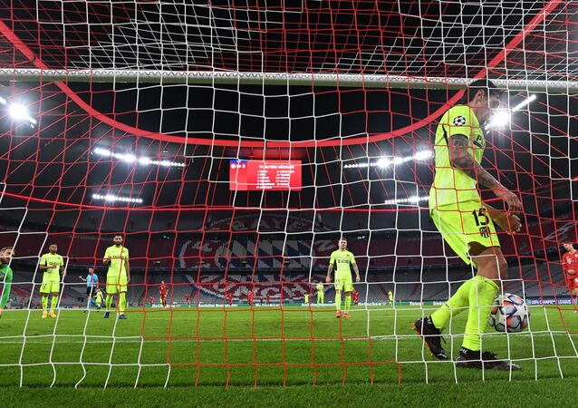 Soccer Football - Champions League - Group A - Bayern Munich v Atletico Madrid - Allianz Arena, Munich, Germany - October 21, 2020 Atletico Madrid's Stefan Savic reacts after Bayern Munich's Kingsley Coman scored their fourth goal