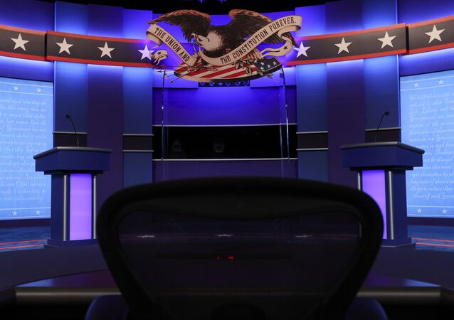 The stage awaits the second and final debate between 2020 U.S. presidential candidates President Donald Trump and Democratic nominee and former Vice President Joe Biden at the Curb Event Center that will host the October 22 debate at Belmont University in Nashville, Tennessee, U.S. October 22, 2020.