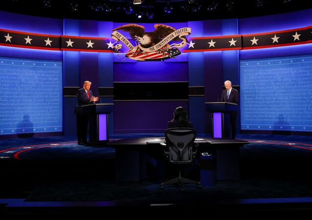 U.S. President Donald Trump and Democratic presidential nominee Joe Biden participate in their final 2020 U.S. presidential campaign debate in the Curb Event Center at Belmont University in Nashville, Tennessee, U.S., October 22, 2020.