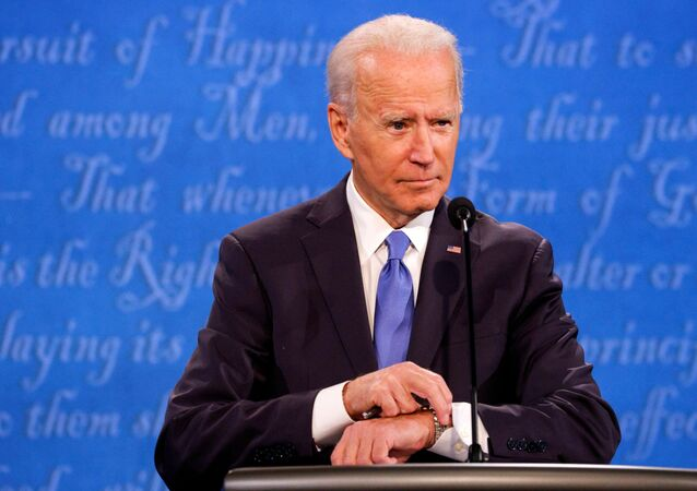 Democratic presidential nominee Joe Biden participates in the final 2020 U.S. presidential campaign debate with U.S. President Donald Trump, in the Curb Event Center at Belmont University in Nashville, Tennessee, U.S., October 22, 2020.