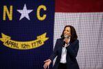 U.S. Democratic vice presidential nominee Senator Kamala Harris (D-CA) speaks during an election campaign visit to Charlotte, North Carolina, U.S. October 21, 2020