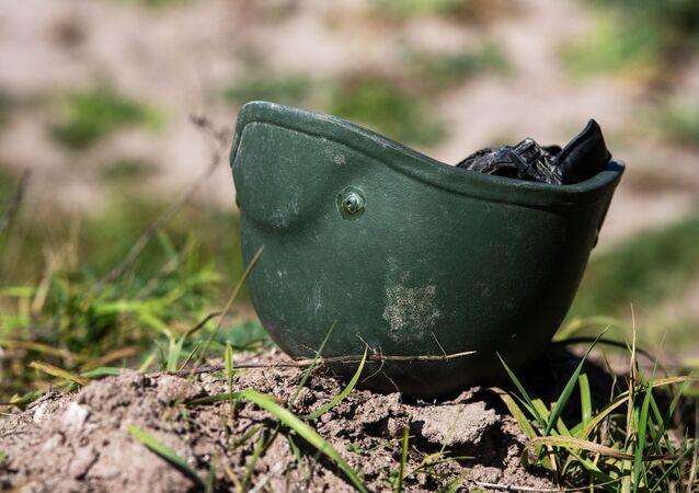 Helmet of a serviceman of the Defense Army of the Nagorno-Karabakh Republic