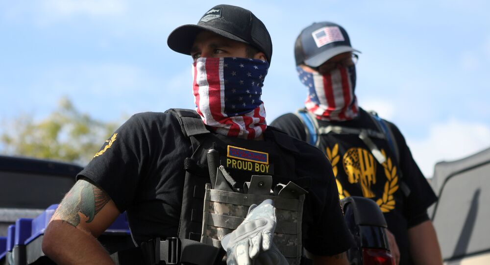 Members of Proud Boys group attend a rally in Portland, Oregon, U.S. September 26, 2020