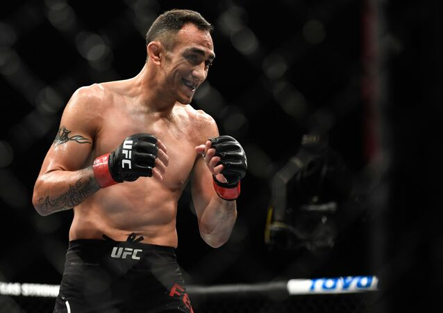 Tony Ferguson of the United States reacts in the Interim lightweight title fight against Justin Gaethje (not pictured) of the United States during UFC 249 at VyStar Veterans Memorial Arena on May 9, 2020 in Jacksonville, Florida