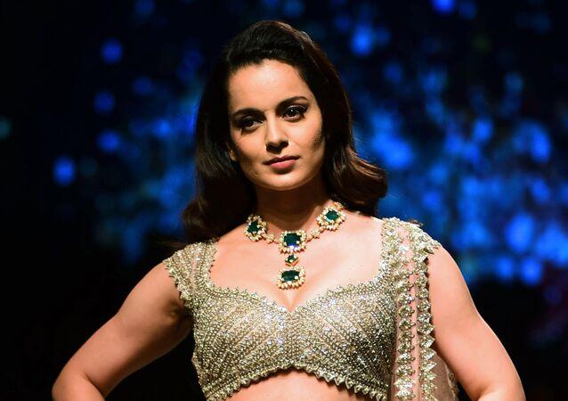 Indian Bollywood actress Kangana Ranaut showcases a creation by designer Anushree Reddy at the Lakmй Fashion Week (LFW) Summer Resort 2019, in Mumbai on February 2, 2019