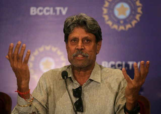 Kapil Dev, former Indian cricket captain and a member of the country's cricket board BCCI's Cricket Advisory Committee, speaks during a news conference to announce its team's coach, in Mumbai, India, August 16, 2019