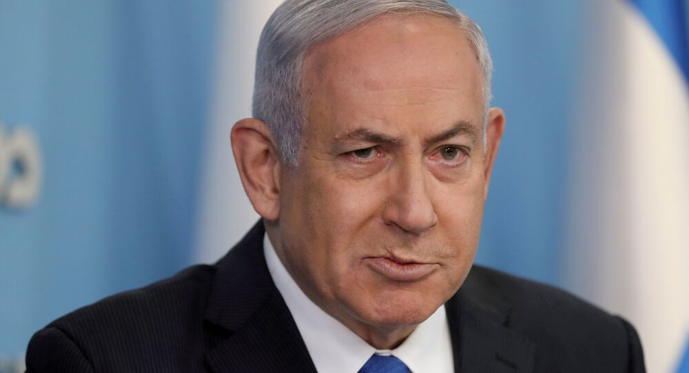 Israeli Prime Minister Benjamin Netanyahu announces a peace agreement to establish diplomatic ties, between Israel and the United Arab Emirates, during a news conference at the prime minister office in Jerusalem, 13 August 2020.