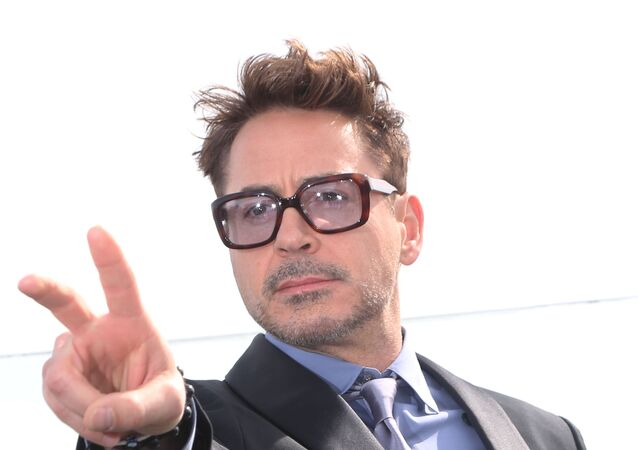 Robert Downey Jr., during a photocall for the Iron Man 3 movie, on the roof of the Ritz-Carlton hotel in Moscow