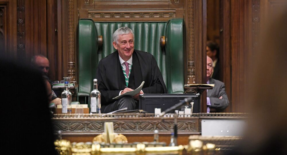 British House of Commons Speaker Lindsay Hoyle smiles during question period at the House of Commons in London, Britain July 1, 2020. UK Parliament/Jessica Taylor