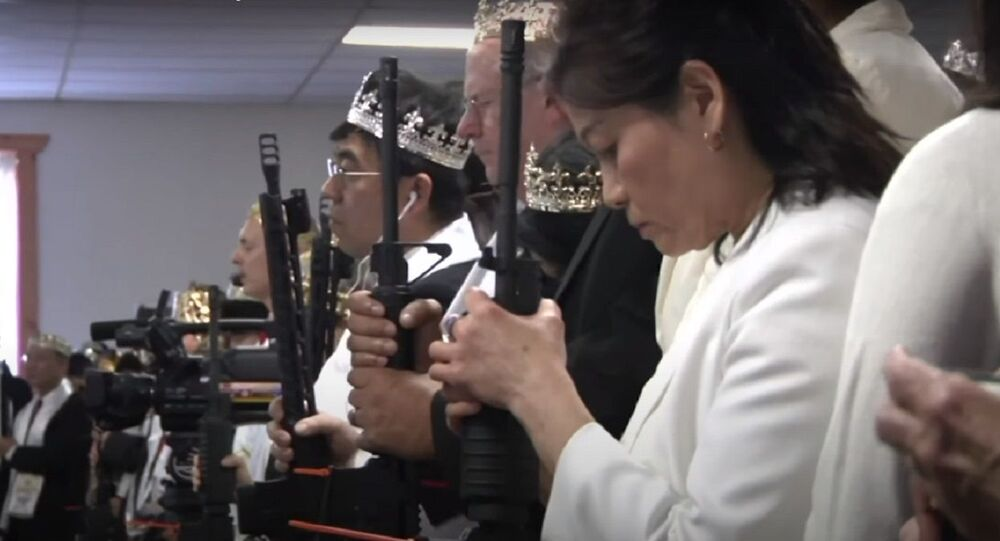Worshippers clutching AR-15 rifles drank holy wine and repeated wedding vows in a commitment ceremony at a Pennsylvania church (File)