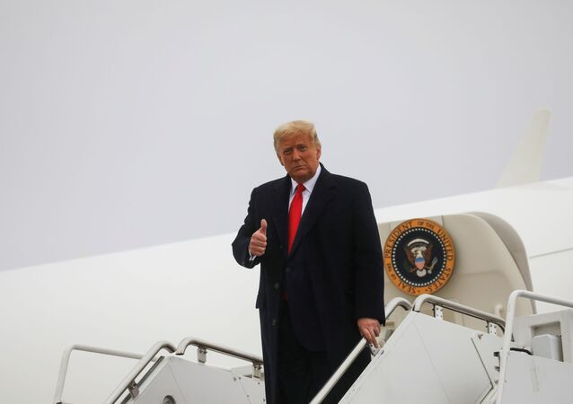 U.S. President Donald Trump gives a thumbs up as he arrives for a campaign event, at Murtha Johnstown-Cambria County Airport, in Johnstown, Pennsylvania, U.S., October 26, 2020.