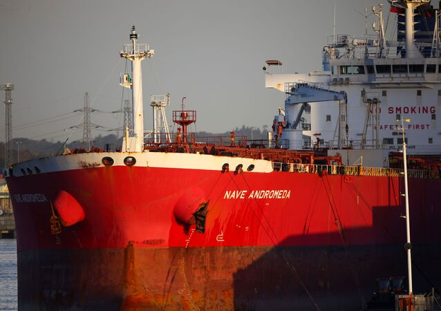 Liberia-flagged oil tanker Nave Andromeda is seen at Southampton Docks, following a security incident aboard the ship the night before off the coast of Isle of Wight, in Southampton, Britain, October 26, 2020
