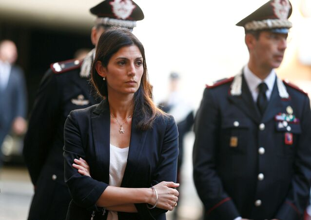 Mayor of Rome Virginia Raggi arrives to pay tribute to a slain police officer killed in Rome, Italy, 28 July 2019.