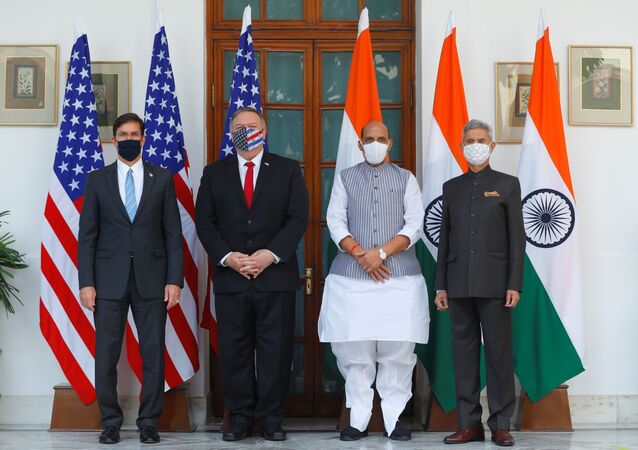 US Secretary of State Mike Pompeo, US Secretary of Defense Mark Esper pose for a picture with India's Foreign Minister Subrahmanyam Jaishankar and India?s Defence Minister Rajnath Singh during a photo opportunity ahead of their meeting at Hyderabad House in New Delhi, India, October 27, 2020