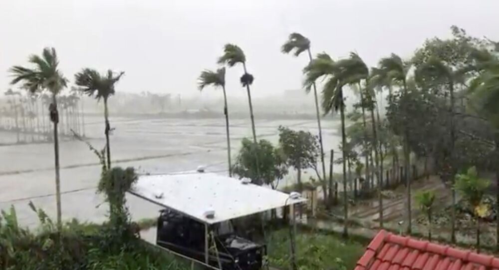General view as Typhoon Molave sweeps through Hoi An, Vietnam October 28, 2020 in this still image taken from social media video