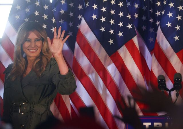U.S. first lady Melania Trump waves during a campaign event in Atglen, Pennsylvania, U.S., October 27, 2020.
