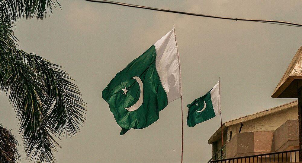 Pakistan Flag in air