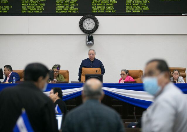 The president of the National Assembly Gustavo Porras speaks during a parliamentary session on the approval of the Ley de Regulacion de Agentes Extranjeros(Law for the Regulation of Foreign Agents), at the Nicaraguan parliament building in Managua, Nicaragua October 15, 2020