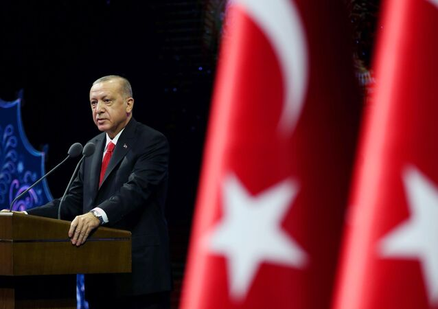 Turkish President Tayyip Erdogan makes a speech during a meeting in Ankara, Turkey October 26, 2020