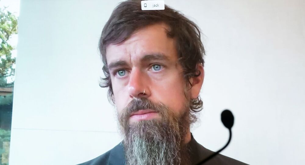 CEO of Twitter Jack Dorsey testifies remotely during the Senate Commerce, Science, and Transportation Committee hearing 'Does Section 230's Sweeping Immunity Enable Big Tech Bad Behavior?', on Capitol Hill in Washington, DC, U.S., October 28, 2020.