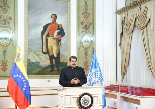 Venezuela's President Nicolas Maduro speaks virtually during the 75th annual U.N. General Assembly, which is being held mostly virtually due to the coronavirus disease (COVID-19) pandemic, from Miraflores Palace in Caracas, Venezuela September 23, 2020.