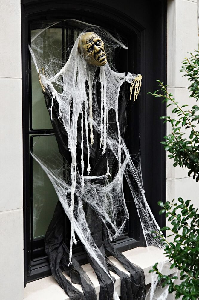 An Upper East Side home is decorated for Halloween on 28 October 2020 in New York City.