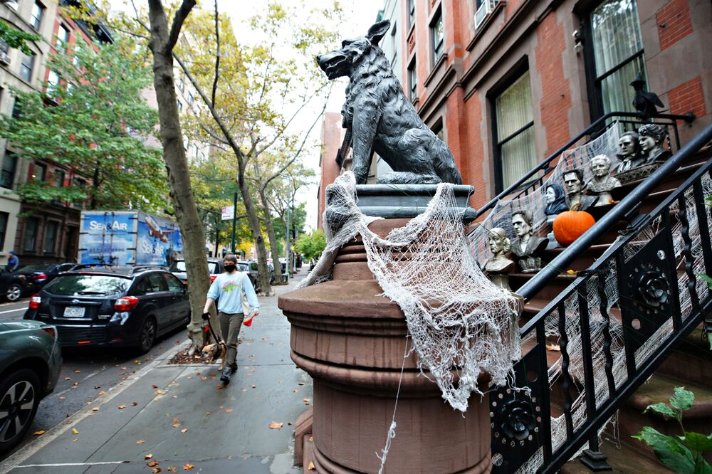 Halloween decorations festoon the entrance of a house in New York City.