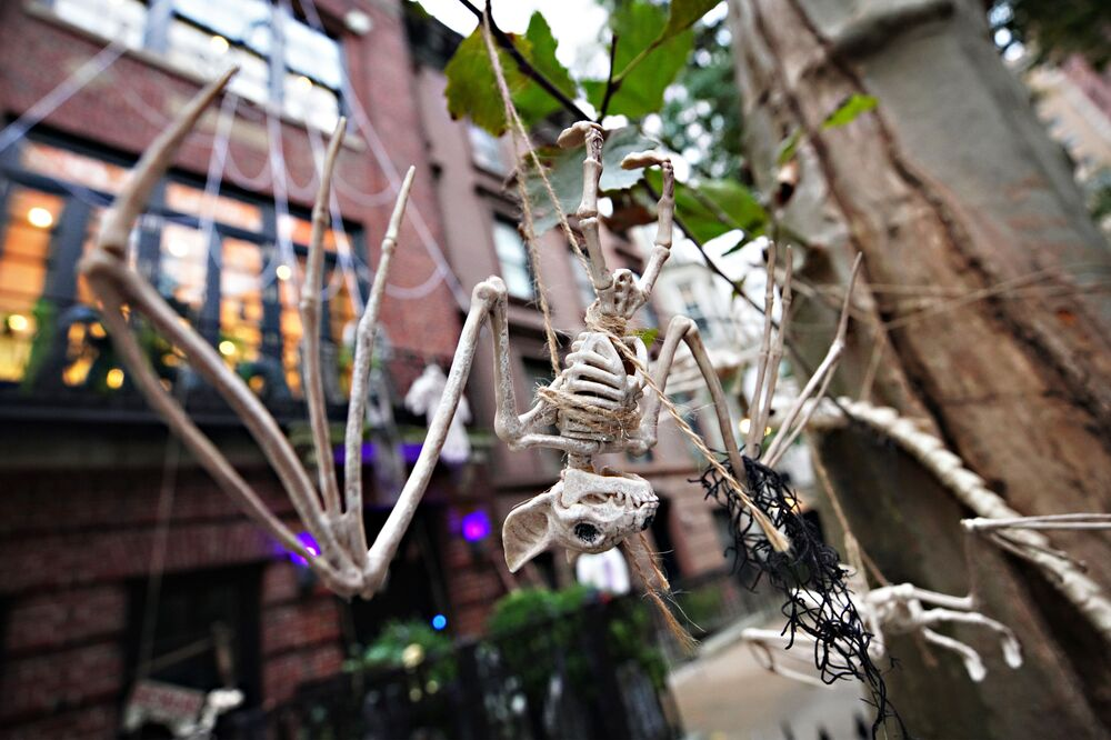 A bat skeleton is placed outside an Upper East Side home in New York City.