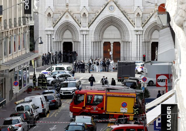 Security forces guard the area after a reported knife attack at Notre Dame church in Nice, France, 29 October 2020