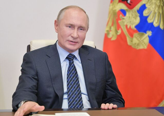 Russia's President Vladimir Putin addresses members of the Russian Union of Industrialists and Entrepreneurs (RSPP) via a video conference call at the Novo-Ogaryovo state residence outside Moscow, Russia October 21, 2020