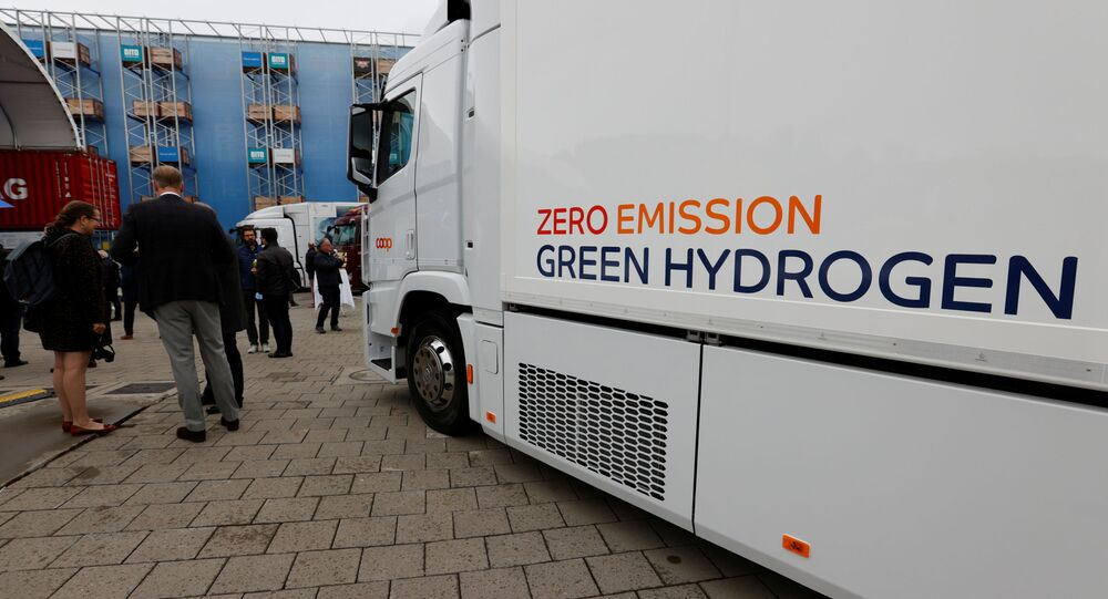 A new hydrogen fuel cell truck made by Hyundai is pictured ahead of a media presentation for the zero-emission transport of goods at the Verkehrshaus Luzern (Swiss Museum of Transport) in Luzern, Switzerland, 7 October 2020