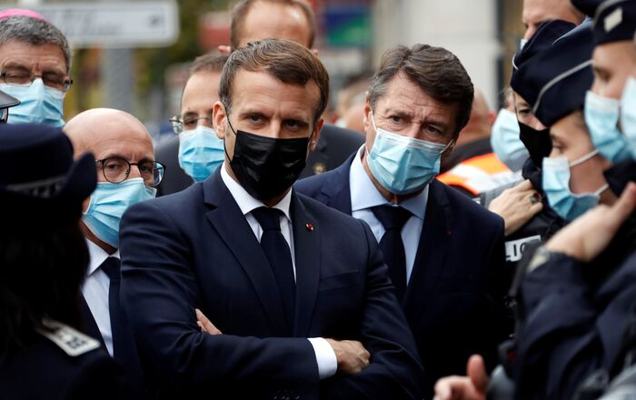 French President Emmanuel Macron and Mayor of Nice Christian Estrosi visit the scene of a knife attack at Notre Dame Basilica in Nice, France, 29 October 2020.