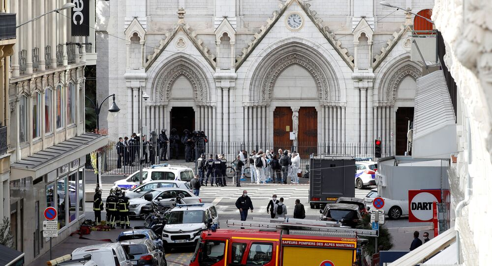Security forces guard the area after a reported knife attack at Notre Dame basilica in Nice, France 29 October 2020.
