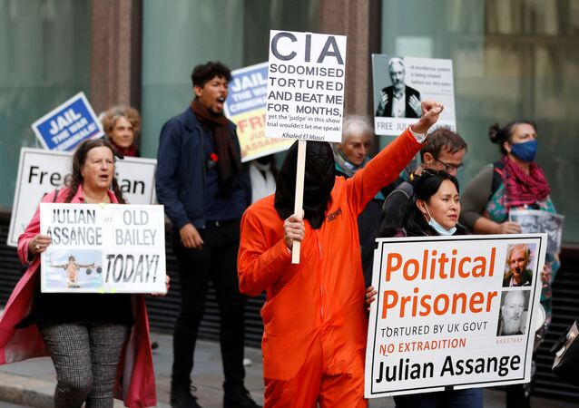 Supporters of WikiLeaks founder Julian Assange protest outside the Old Bailey, the Central Criminal Court on the final day of a hearing to decide whether Assange should be extradited to the United States, in London, Britain October 1, 2020.