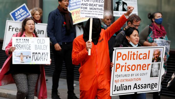 Supporters of WikiLeaks founder Julian Assange protest outside the Old Bailey, the Central Criminal Court on the final day of a hearing to decide whether Assange should be extradited to the United States, in London, Britain October 1, 2020. - Sputnik International