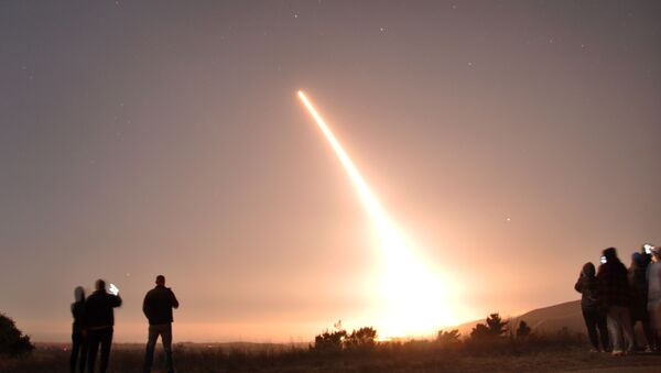 An Air Force Global Strike Command unarmed Minuteman III intercontinental ballistic missile launches during an operational test at 12:27 a.m. Pacific Time, Thursday, Oct. 29, 2020, at Vandenberg Air Force Base, California. - Sputnik International
