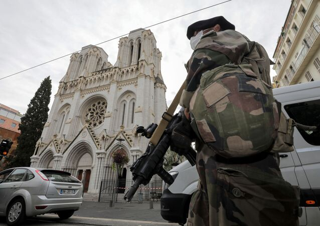 A French soldier stands in front of Notre-Dame church, where a knife attack took place, in Nice, France October 29, 2020