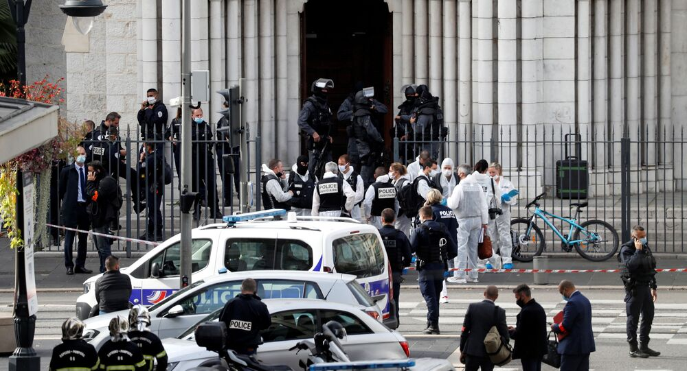 Security forces guard the area after a reported knife attack at Notre Dame church in Nice, France, October 29, 2020