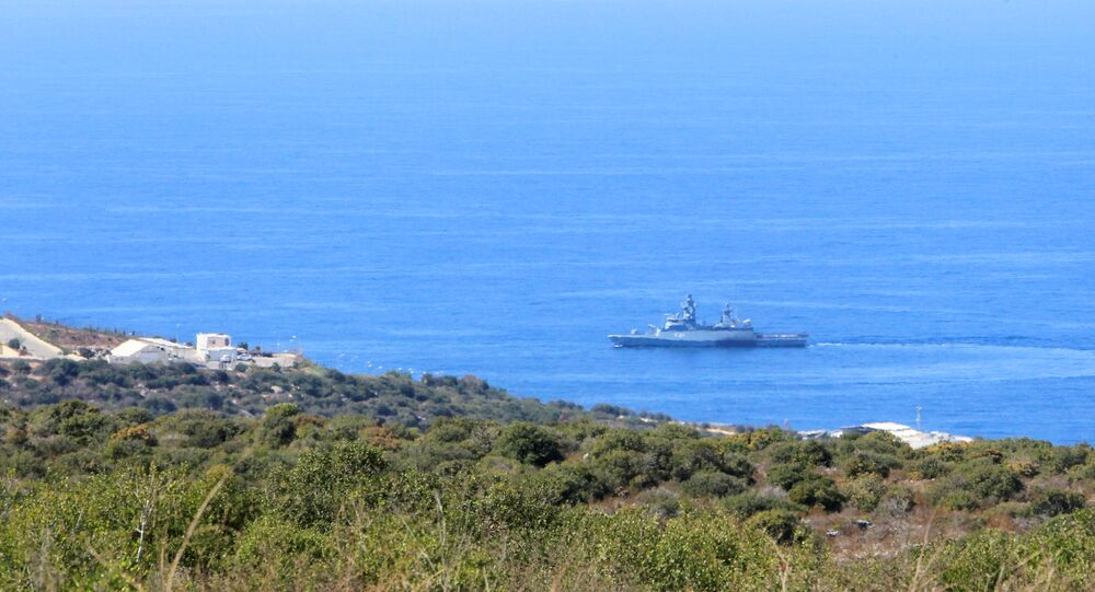 A UN naval ship is pictured near a base for U.N. peacekeepers of the United Nations Interim Force in Lebanon (UNIFIL) in Naqoura, near the Lebanese-Israeli border, southern Lebanon October 14, 2020