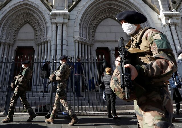 French soldiers patrol near the Notre Dame church the day after a deadly knife attack in Nice, France, October 30, 2020