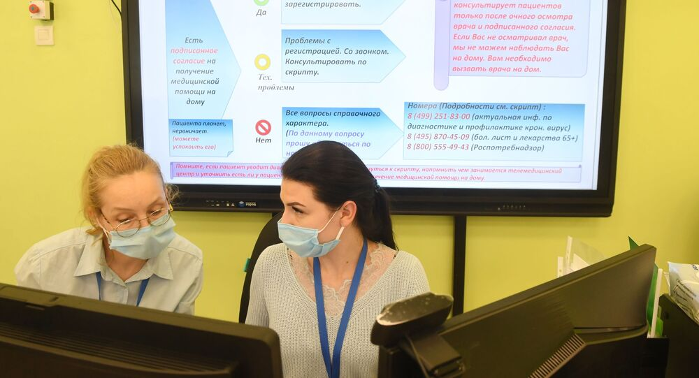 Personnel of the Telemedicine centre opened in Moscow.