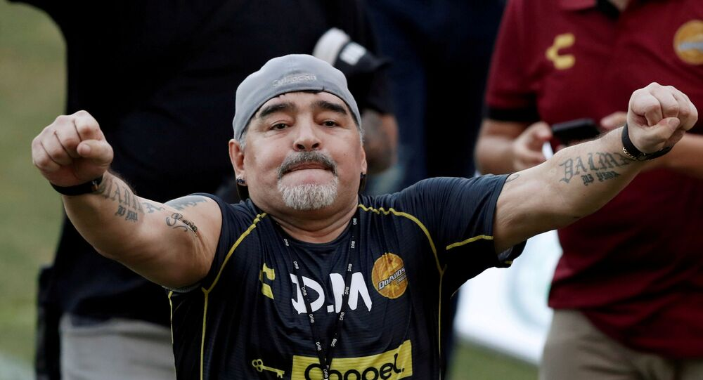 Argentinian soccer legend Diego Armando Maradona reacts to fans during his first training session as coach of Dorados at the Banorte stadium in Culiacan, in the Mexican state of Sinaloa, Mexico September 10, 2018.