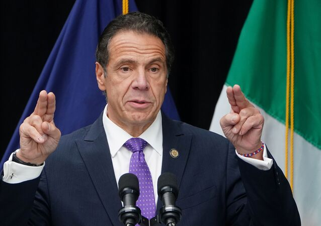 Governor of New York Andrew Cuomo speaks at the unveiling for the Mother Cabrini statue in the Manhattan borough of New York City, New York, U.S., October 12, 2020.